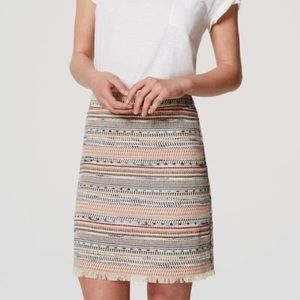 Tweed Fringed Mini Skirt